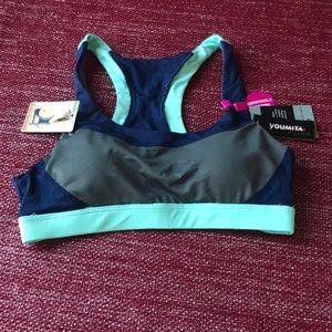 Intimates & Sleepwear - Ladies Blue and Gray Keyhole Racerback Sports Bra